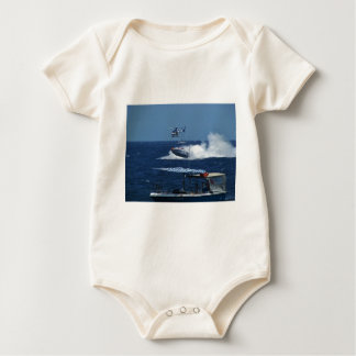 Powerboat and a helicopter baby bodysuit
