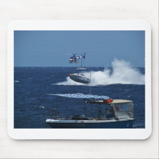 Powerboat and a helicopter mouse pad