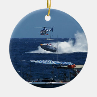 Powerboat and a helicopter round ceramic decoration
