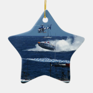 Powerboat and a helicopter ceramic star decoration