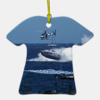 Powerboat and a helicopter ceramic T-Shirt decoration