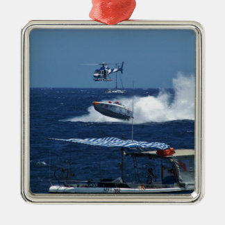 Powerboat and a helicopter Silver-Colored square decoration