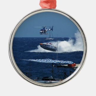 Powerboat and a helicopter Silver-Colored round decoration