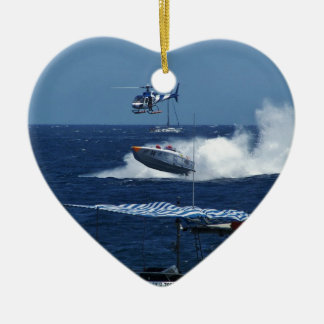 Powerboat and a helicopter ceramic heart decoration
