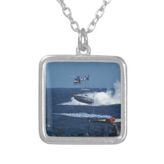 Powerboat and a helicopter silver plated necklace