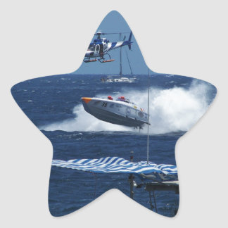 Powerboat and a helicopter star sticker