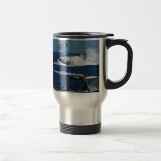 Powerboat and a helicopter travel mug