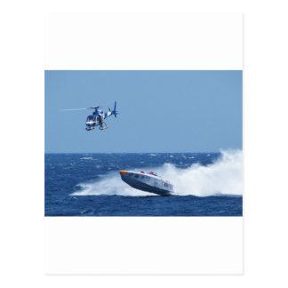 Powerboat y helicóptero aerotransportados postal