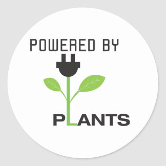 POWERD POR LAS PLANTAS PEGATINA REDONDA