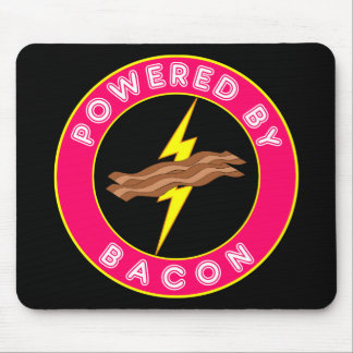 Powered By Bacon Pink Mouse Pads