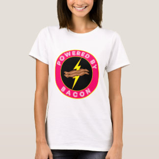 Powered By Bacon Pink Superhero T-Shirt