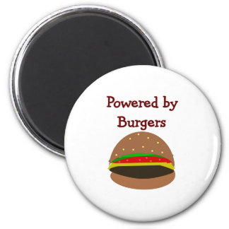 """""""Powered by Burgers""""--funny Hamburger Lover Gifts Magnets"""