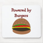 """""""Powered by Burgers""""--funny Hamburger Lover Gifts Mouse Pad"""