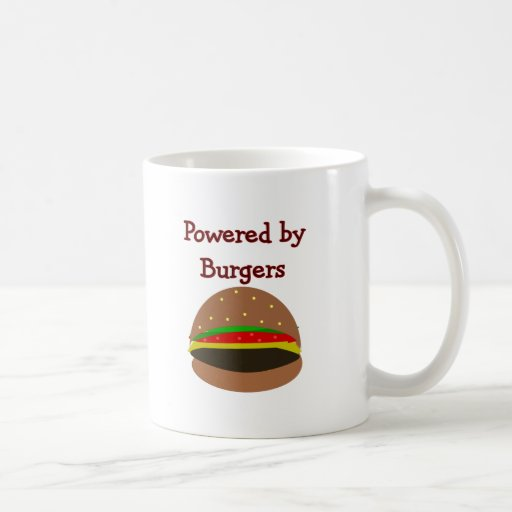 """""""Powered by Burgers""""--funny Hamburger Lover Gifts Classic White Coffee Mug"""
