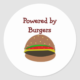 """""""Powered by Burgers""""--funny Hamburger Lover Gifts Round Sticker"""