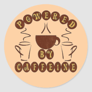 POWERED BY CAFFEINE CLASSIC ROUND STICKER
