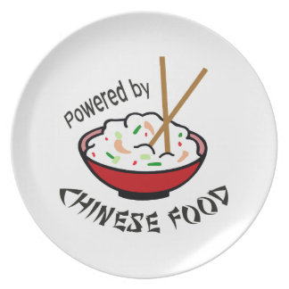 POWERED BY CHINESE FOOD DINNER PLATE