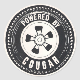 Powered by Cougar Round Decal Classic Round Sticker