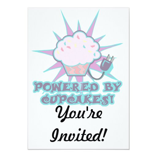 Powered By Cupcakes 5x7 Paper Invitation Card