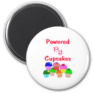 Powered by Cupcakes--Adorable Cupcake lover gifts 2 Inch Round Magnet