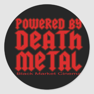 powered by Death metal Classic Round Sticker