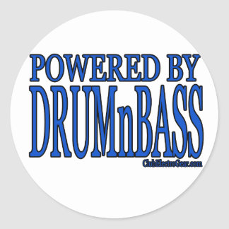 powered by DRUMnBASS Classic Round Sticker