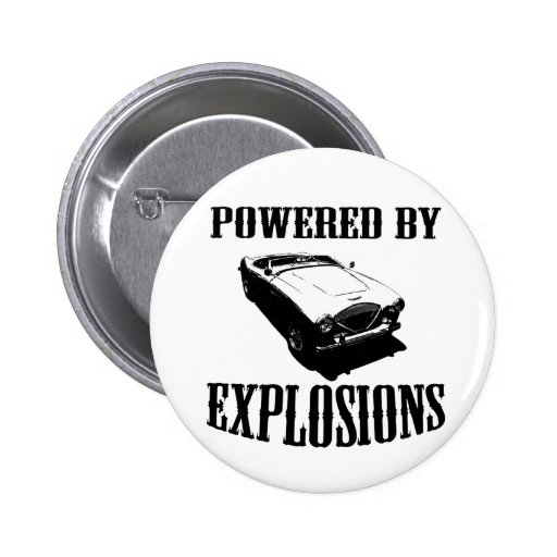 """""""Powered by Explosions"""" British Sports Car Button"""