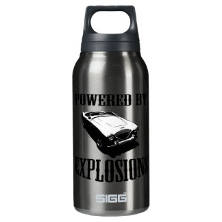 """Powered by Explosions"" British Sports Car Insulated Water Bottle"
