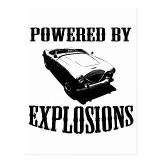 """""""Powered by Explosions"""" British Sports Car Postcard"""