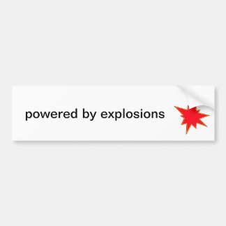 Powered by explosions bumper sticker with simple g