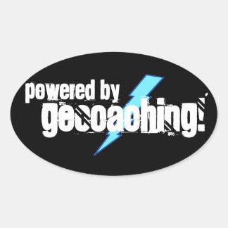 Powered By Geocaching Oval Sticker
