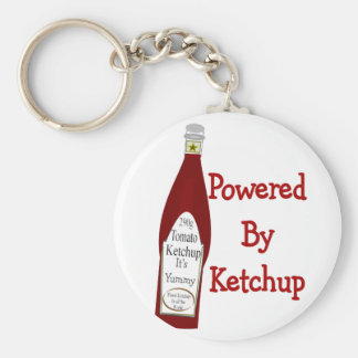 Powered By Ketchup Basic Round Button Keychain