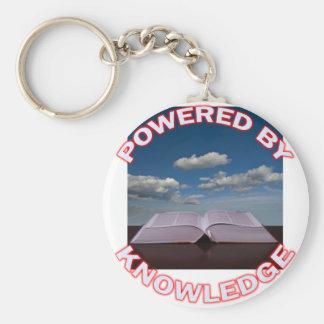 powered by knowledge basic round button keychain
