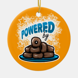 Powered by Little Chocolate Donuts Double-Sided Ceramic Round Christmas Ornament