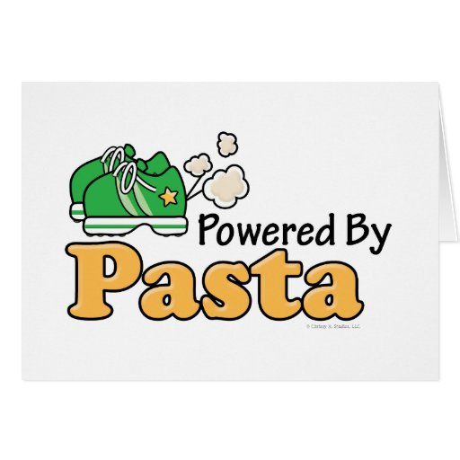 Powered By Pasta Runner Greeting Card