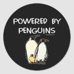 Powered By Penguins Round Stickers