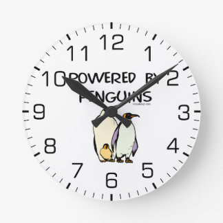 Powered By Penguins Round Wall Clocks