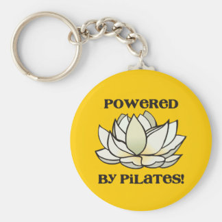 Powered By Pilates Lotus Basic Round Button Keychain