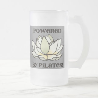 Powered By Pilates Lotus Frosted Glass Beer Mug