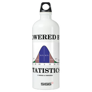 Powered By Statistics (Bell Curve Humor) Aluminum Water Bottle
