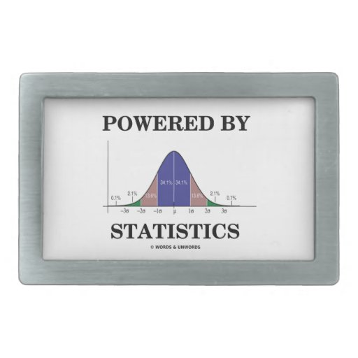 Powered By Statistics (Bell Curve Humor) Belt Buckle