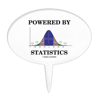 Powered By Statistics (Bell Curve Humor) Cake Topper