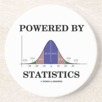 Powered By Statistics (Bell Curve Humor) Sandstone Coaster