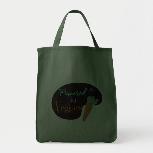 Powered by Veggies Grocery Tote Bag