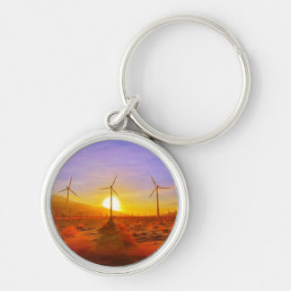 Powered by Wind Silver-Colored Round Keychain