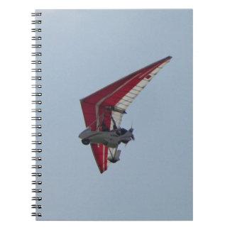Powered hang glider spiral notebook