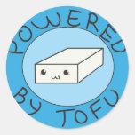 powered village tofu classic round sticker