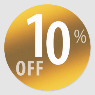 Powerful 10% OFF SALE Sign | Gold Classic Round Sticker