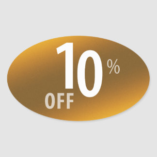 Powerful 10% OFF SALE Sign | Gold Oval Sticker