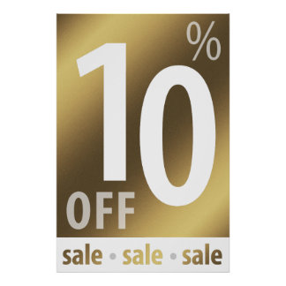 Powerful 10% OFF SALE Sign | Golden Poster